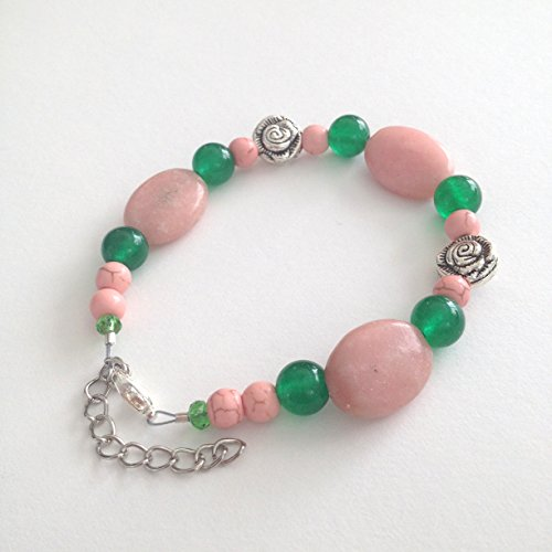 Pink Opal Gemstone Bracelet With Turquoise & Green Jade Beads