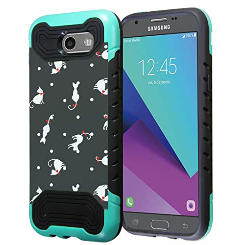 Capsule Case Compatible with Samsung Galaxy J7 Prime, J7 Perx, J7 Sky Pro, J7 V, Galaxy Halo, Galaxy J7 SM-J727 (Year 2017) [Quantum Dual Layer Slim Case Mint Black] - (Cats)