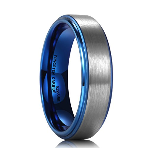 King Will 6mm Blue Tungsten Carbide Wedding Band Ring Brushed Center Polish Finished Comfort Fit 8.5