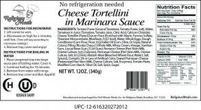 (Religious Meals Cheese Tortellini In Marinara Sauce 12 Oz. Pack Of 6.)