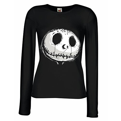 T Shirt Women Scary Skull Face - Nightmare - Halloween Outfit Party Costumes (X-Large Black Multi (Day Of The Dead Costumes Plus Size Uk)
