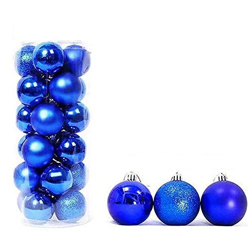 feng biao Christmas Ball Pendant, Decorative Shatterproof Christmas Tree Pendants Hanging 40mm Christmas Baubles Balls Ornaments Set Pack of 24 pcs (Royal Blue) (Blue Ball Ornaments)