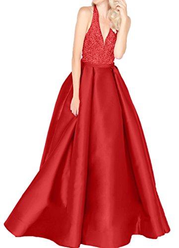 Jugendweihe Rot Charmant Abschlussballkleider mit V Damen Kleider Ausschnitt Steine Abendkleider Lilac Pailletten Langes Satin 8O68x