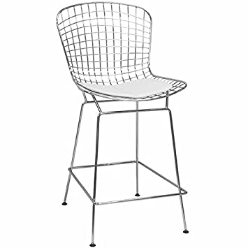 Incredible Mod Made Mid Century Modern Chrome Wire Counter Stool For Spiritservingveterans Wood Chair Design Ideas Spiritservingveteransorg