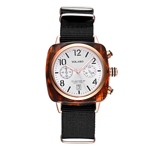 Dial Canvas - Luxury Temperament Square Dial Canvas Band Analog Quartz Casual Simple Chronograph Watch
