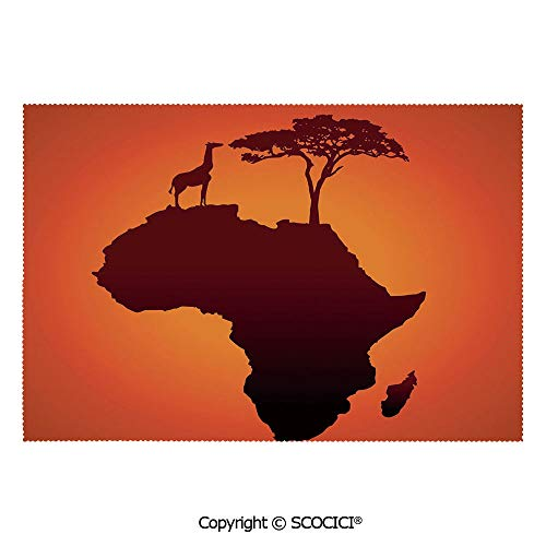 SCOCICI Washable,Non-Fading,Non-Stain,Wipe Clean,Dries Quickly Place mat Safari Map with Continent Giraffe and Tree Silhouette Savannah Wild Design Prefect for Use in Holiday, Home Parties, Family Ga (Best Bbq Restaurant In Savannah Ga)