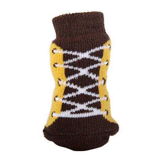 Meiyiu Non Slip Tiny Small Dog Cat Socks Paw Prints Shoelace Pattern M