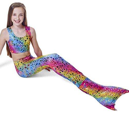 [bikini mädchen]Kidslove Mädchen Bikini Meerjungfrau badeanzug mädchen 3tlg Bikini Kinder Schwimmanzug Bademode (130)