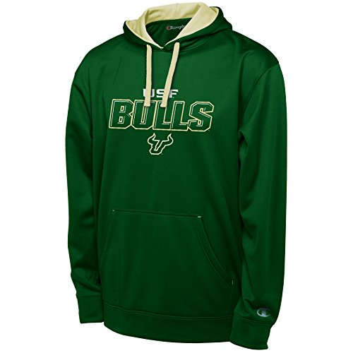 NCAA South Florida Bulls Adult Men Pullover Hood with Contra, Small, Green
