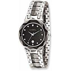 Roy Rose Jewelry Mens Chisel Stainless Steel & Ceramic Black Dial Watch
