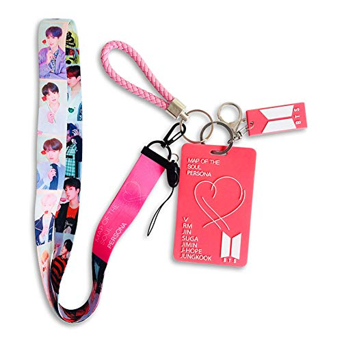 (Cianowegy Kpop BTS Map of The Soul Persona ID Card Badge Holder with Lanyard/Detachable Metal Clip and Key Ring for A.R.M.Y (Style B))