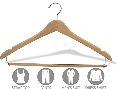 The Great American Hanger Company Curved Wood Suit Hanger w/Locking Bar, Box of 100 17 Inch Hangers w/Natural Finish & Chrome Swivel Hook & Notches for Shirt Dress or Pants by The Great American Hanger Company (Image #2)
