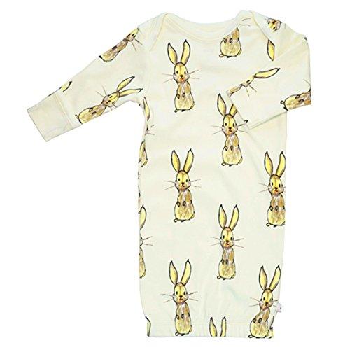 Babysoy Jane Goodall Long Sleeve Animal Pattern Gown/Bundler (Rabbit, 0-3 (Organic Cotton Gown)