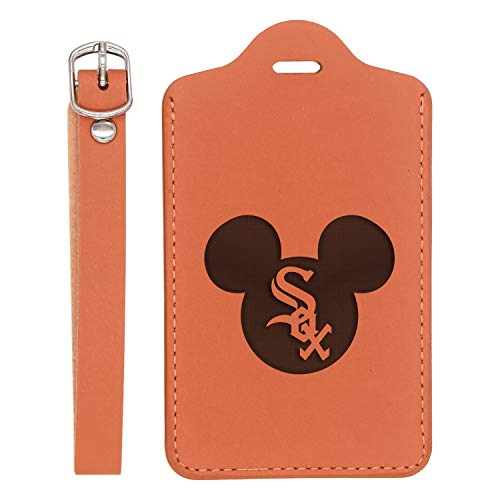Mlb Mickey Mouse Chicago White Sox Engraved Synthetic Leather Luggage Tag (London Tan) - United States Standard - Handcrafted By Mastercraftsmen - For Any Type Of Luggage
