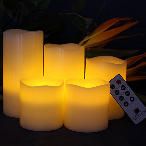 LED Lytes Battery Operated Candles - Large Flameless Candles Set of 5 Round Ivory Wax with Flickering Amber Yellow Flame, auto-Off Timer Remote Control Fake Candle by LED Lytes (Image #1)