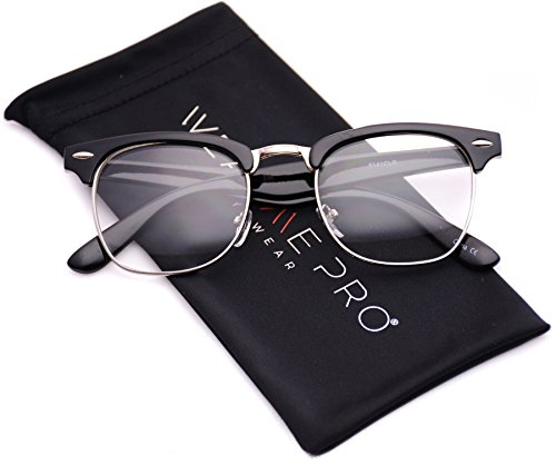 Vintage Inspired Classic Half Frame Horn Rimmed Clear Lens Glasses (Thick Black / Gold, - Womens Glasses Rimless Semi