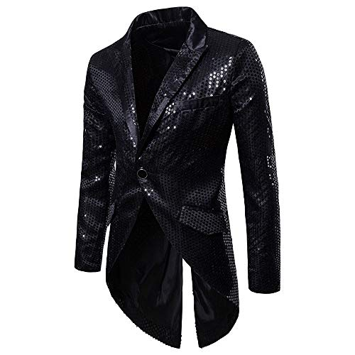 TANGSen Men's Fashion Blazer Dress Charm Casual One Button Fit Suit Stylish Blazer Coat Jacket Party Tuxedo Black