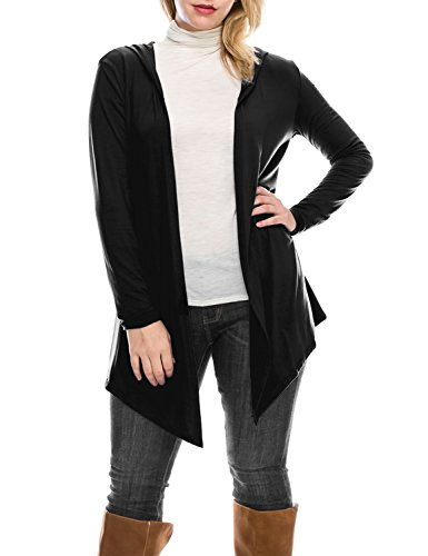 black hooded cardigan sweater