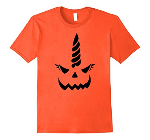 Mens Evil Unicorn Jack O' Lantern Pumpkin Printed Shirt Costume Small (Homemade Unicorn Costume)