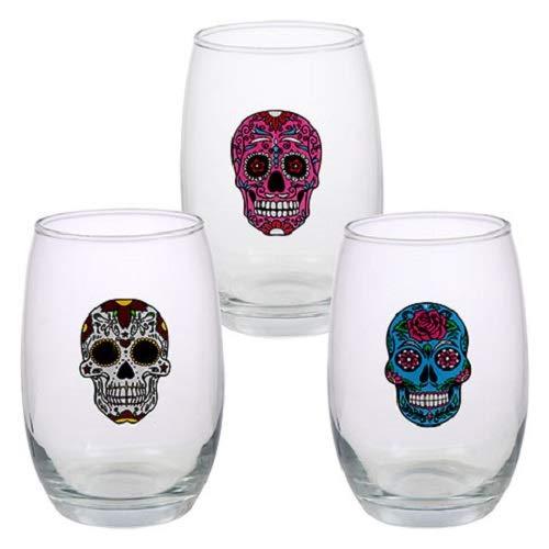SET OF 3 Day of the Dead Stemless Skull Flower Wine Glasses, 15 oz glass Halloween Gasparilla -