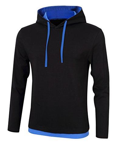 Yiwa Men's Hooded Long-sleeve Sweatshirt Soft Cotton Crew Neck T-shirt Black - Malls Albany