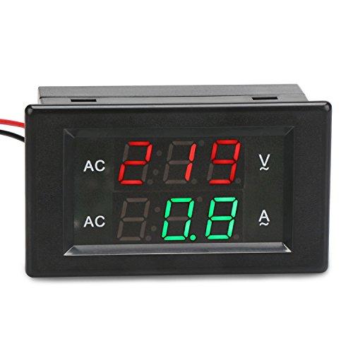 DROK 0.39''LED 2in1 Multimeter AC500V 200A Voltmeter Ammeter, AC Volts Meter Panel Ammeter Gauge with Current Transformer, Two-wires Digital Ammeter Volts Meter Tester