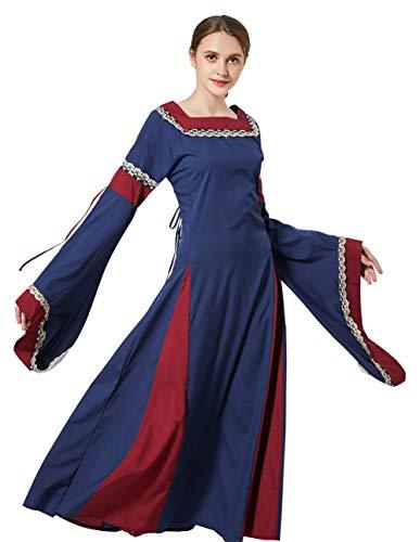 baycon Womens Medieval Renaissance Dress Lace up Vintage Floor Length Retro Gown Dress Black -
