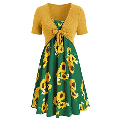 iHPH7 Womens Short Sleeve T-Shirt Dress Fashion Bow Knot Bandage Top Sunflower Print Mini Dress Suits (XL,2- Mint Green)