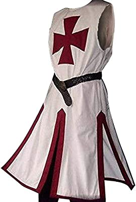 Enjoybuy Mens Medieval Crusader Templar Knight Surcoat Cloak Renaissance Warrior Cosplay Costumes