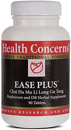 Health Concerns - Ease Plus - Bupleurum & Dragon Bone Chinese Herbal Supplement - Chai Hu Mu Li Long Gu Wan - Nervousness, Insomnia, Emotional Distress, and Headache Relief - with Oyster Shell - 90 Tablets per Bottle