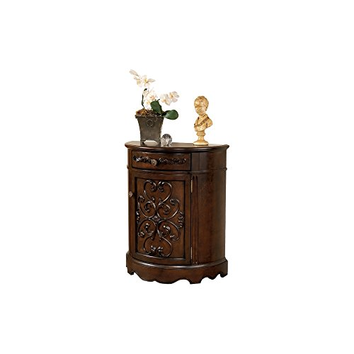 Antique End Table Brown (Ashley Furniture Signature Design - Norcastle Accent Cabinet - Antique Style - Semi Circle - Dark Brown)