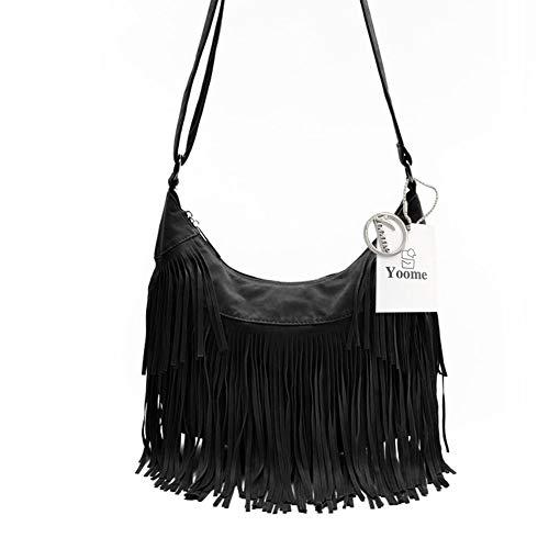 Yoome Women Crossbody Hippie Purse Fringe Tassel Messenger Bag Hobo Shoulder Handbag Satchel - ()