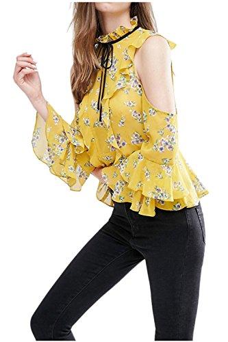 Mujeres de hombro Floral impreso medida equipados camisa Casual