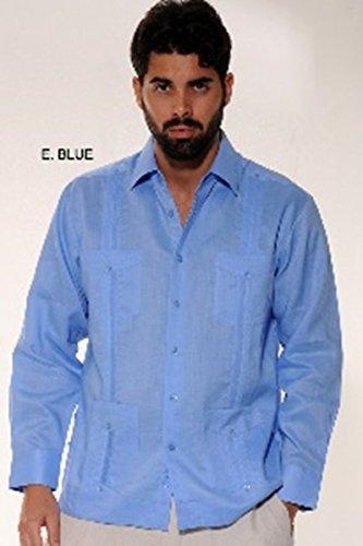 Bohio Mens Guayabera Linen Traditional 4-Pocket Long Sleeved Shirt, E.BLUE, 2X