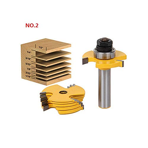 Milling Cutter for Wood 1/4'' Shank Tongue Groove Router Bits Drilling Milling Carving Set Floor Woodworking,NO.2