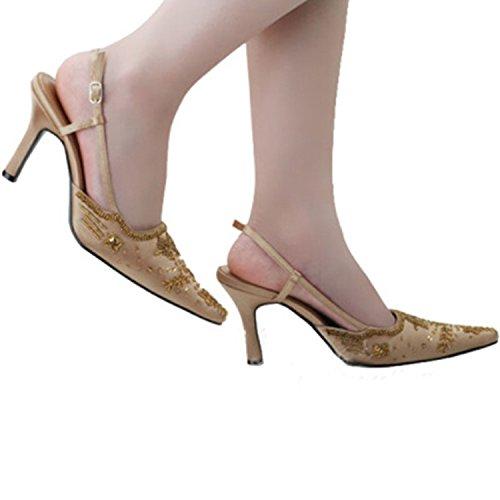 Sequin Minitoo Wedding MZ586 Satin Bridal Evening Formal Pumps Shoes Party Women's Brown Handmade BFRABxwtq