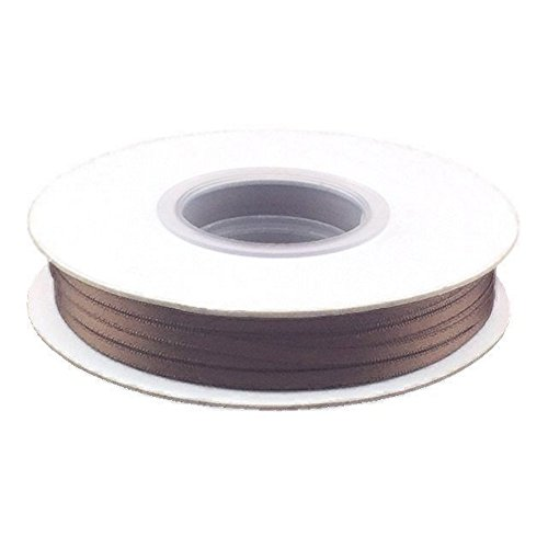 1/8in. Wide Double Faced Satin Ribbon - Seal Brown (100 yard spool)