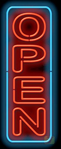 Large Open Vertical Neon Sign with Border by Jantec Sign Group