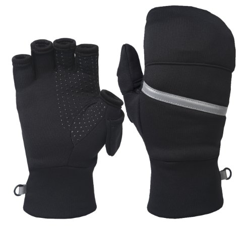TrailHeads Womens Power Stretch Convertible Mittens,small/medium, Black