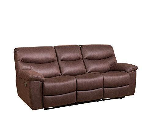 Abbyson Living CI 10787 3 Henry Fabric Reclining Sofa With Console