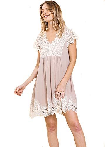 Ladies Love Lace! Cap Sleeve Gauze Boho Dress (Latte, Small) Bodice Border Print Dress