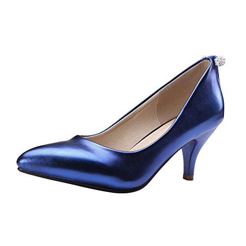 Latasa Kvinna Mode Spetsig Tå Mid Häl Klänning Pumps Mörkblå