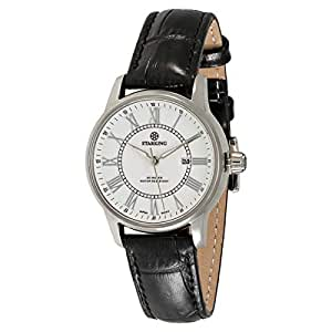 Starking Men's White Dial Leather Band Watch - BL0845SL21