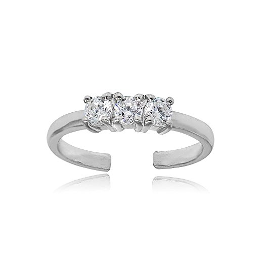 Hoops & Loops Sterling Silver Cubic Zirconia Three Stone Toe Ring