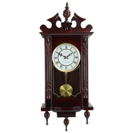 Bedford Clock Collection Classic 31'' Chiming Wall Clock With Roman Numerals And A Swinging Pendulum in a Cherry Oak Finish
