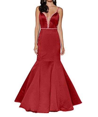 Charmant Lang Etuikleider Festlichkleider Satin Brautmutterkleider Damen Blau Abendkleider Rot Traeger Zwei ryxBr7wqz
