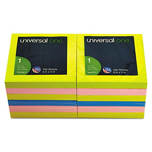 Fan-Folded Pop-Up Notes 3 x 3 4 Neon Colors 12 100-Sheet (Colour By Numbers Halloween Sheets)