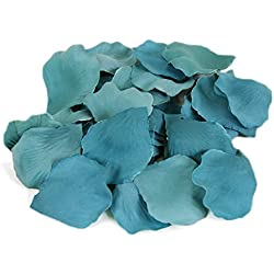Koyal Wholesale Silk Rose Petals Confetti, Aqua Blue Bulk 1200-Pack Wedding Flowers Table Scatter, Rose Petal Aisle Runner