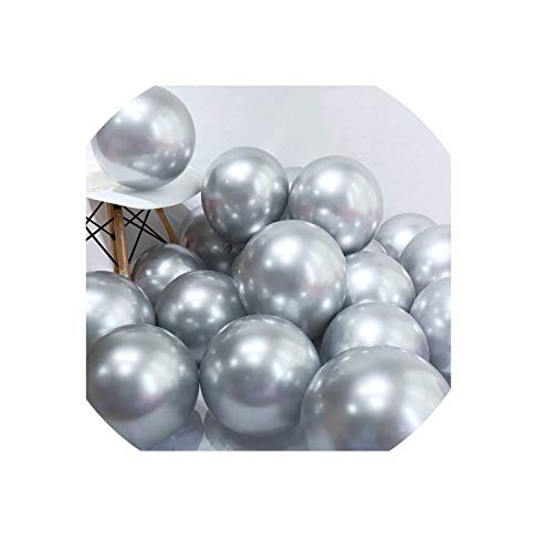 Latex Balloons Wedding Decorations Helium Birthday Party Decorations Adult Kid's Toy,Metal Sliver,20Pcs]()