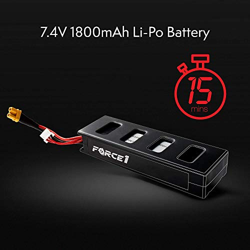 Force1 F100 and F100 Ghost Drone Battery - 2S Lipo RC Battery - Spare Parts for MJX B3 Bugs 3, F100 and F100 Ghost Drones Replacement Batteries